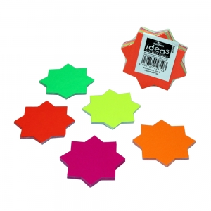 Fluorescent Ticket Board Star 76mm Diameter Assorted Colours - Pack 50