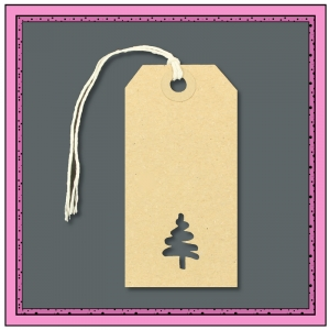 Buff Gift Tags with Punched CHRISTMAS TREE Shape 96mm x 48mm - Pack 10