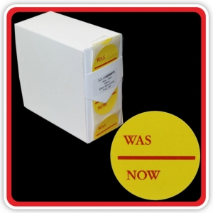 "S/A Removable Label ""WAS - NOW"" 40mm (1 1/2"") Yellow - Pack 500"