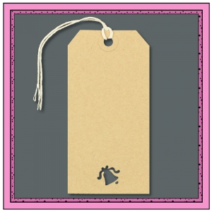 Buff Gift Tags with Punched BELL Shape 120mm x 60mm - Pack 10