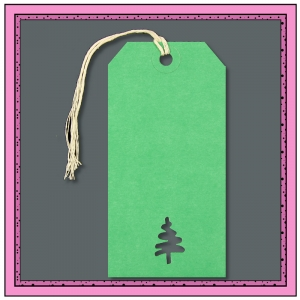 Green Gift Tags with Punched Large CHRISTMAS TREE V2 120mm x 60mm - Pack 10