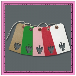 Assorted Gift Tags with Punched ANGEL 120mm x 60mm - Pack 10