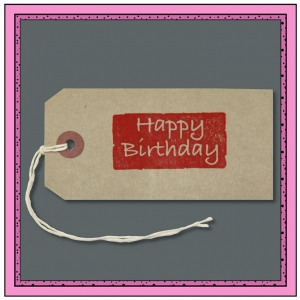 Buff Gift Tags with Printed HAPPY BIRTHDAY 120mm x 60mm - Pack 10