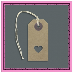 Buff Gift Tags with Punched LOVE HEART 70mm x 35mm - Pack 10