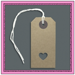 Buff Gift Tags with Punched LOVE HEART 82mm x 41mm - Pack 10
