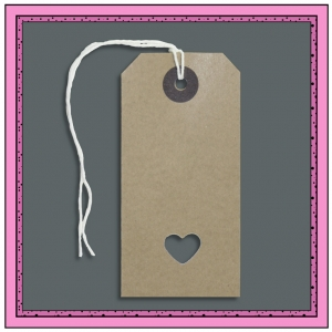 Buff Gift Tags with Punched LOVE HEART 96mm x 48mm - Pack 10