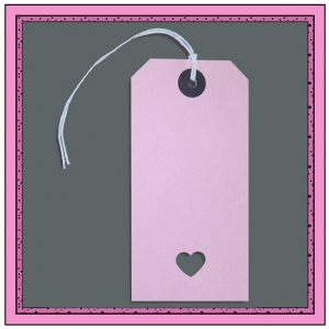Pink Gift Tags with Punched LOVE HEART 120mm x 60mm - Pack 10