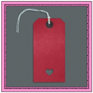 Red Gift Tags with Punched LOVE HEART 120mm x 60mm - Pack 10