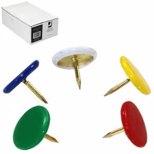 Drawing Pins Assorted Colours Head - Office Pack 10 x 120