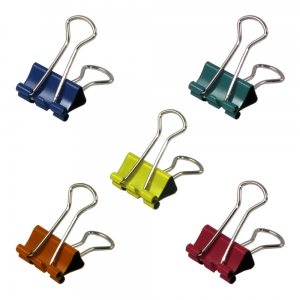 Foldback Clip 19mm Assorted Colours - Pack 10