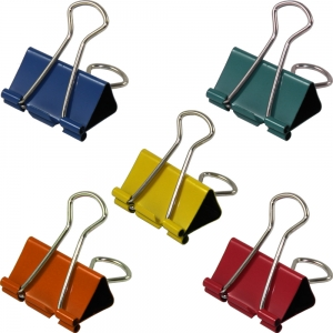 Foldback Clip 32mm Assorted Colours - Pack 10