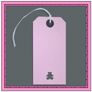 Pink Girls Gift Tags with Punched TEDDY BEAR 120mm x 60mm - Pack 10