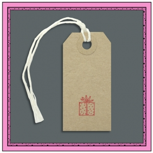 Buff Gift Tags PRESENT in Red 70mm x 35mm - Pack 10