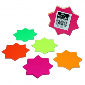 Fluorescent Ticket Board Star 102mm Diameter Assorted Colours - Pack 30