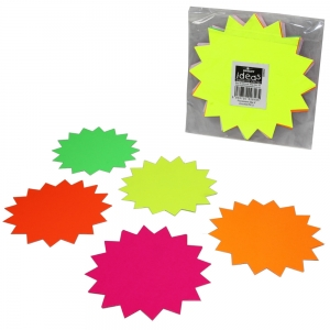 Fluorescent Ticket Board Star 152mm Diameter Assorted Colours - Pack 12