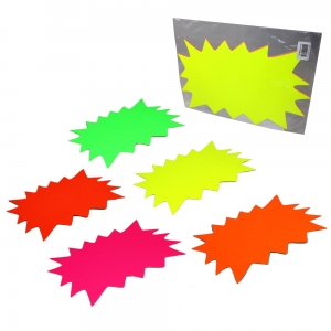 Fluorescent Ticket Board Flash A4 210mm x 297mm Assorted Colours - Pack 5
