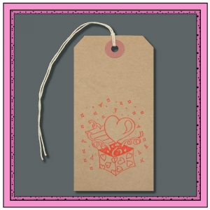 Buff Gift Tags Printed with a LOVE HEART & GIFT BOX 120mm x 60mm - Pack 10