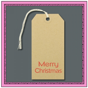 Buff Gift Tags Printed with MERRY CHRISTMAS 120mm x 60mm - Pack 10