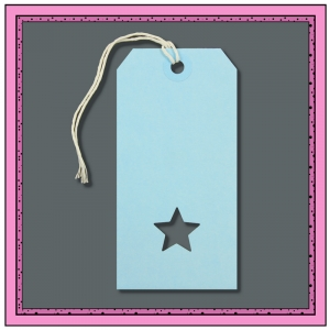 Blue Boys Gift Tags with Punched STAR 120mm x 60mm - Pack 10