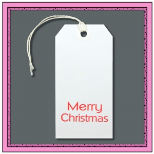 White Gift Tags Printed with MERRY CHRISTMAS 120mm x 60mm - Pack 10