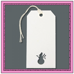 White Christmas Gift Tags with Punched SNOWMAN 120mm x 60mm - Pack 10