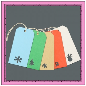 Assorted Gift Tags with Punched CHRISTMAS Themes 120mm x 60mm - Pack 10