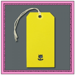 Yellow Gift Tags with Punched FLOWER 120mm x 60mm - Pack 10