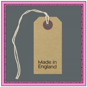 Buff Gift Tags MADE in ENGLAND in Black 82mm x 41mm - Pack 10