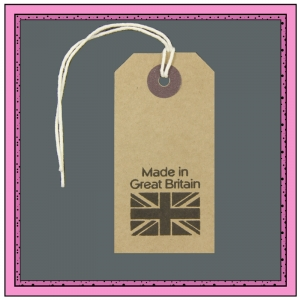 Buff Gift Tags MADE in GREAT BRITAIN in Black 82mm x 41mm - Pack 10