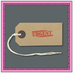Buff Gift Tags URGENT in Red 82mm x 41mm - Pack 10