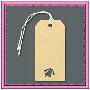 Buff Gift Tags with Punched BELL Shape 96mm x 48mm - Pack 10