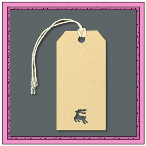 Buff Gift Tags with Punched REINDEER Shape 96mm x 48mm - Pack 10