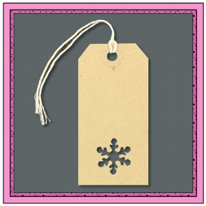 Buff Gift Tags with Punched SNOWFLAKE Shape 96mm x 48mm - Pack 10