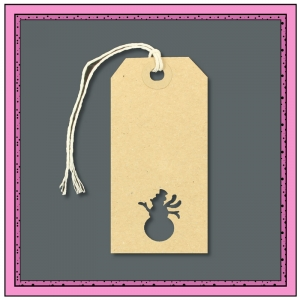 Buff Gift Tags with Punched SNOWMAN Shape 96mm x 48mm - Pack 10