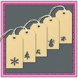 Assorted Gift Tags with Punched CHRISTMAS Themes 96mm x 48mm - Pack 10