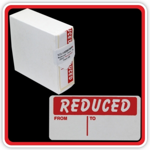 "S/A Permanent Label ""REDUCED - FROM - TO"" 25 x 51mm (1x2"") - Pack 500"