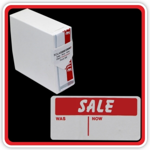"S/A Permanent Label ""SALE - WAS - NOW"" 25 x 51mm (1x2"") - Pack 500"
