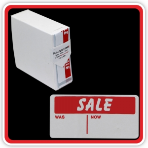 "S/A Removable Label ""SALE - WAS - NOW"" 25 x 51mm (1x2"") - Pack 500"