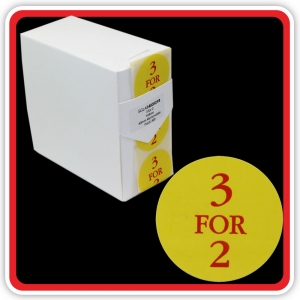 "S/A Removable Label ""3 FOR 2"" 40mm (1 1/2"") Yellow - Pack 500"