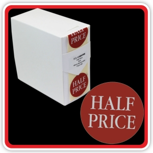 "S/A Removable Label ""HALF PRICE"" 40mm (1 1/2"") Red - Pack 500"