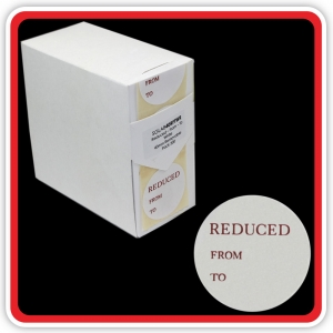 "S/A Removable Label ""REDUCED - FROM - To"" 40mm (1 1/2"") White - Pack 500"