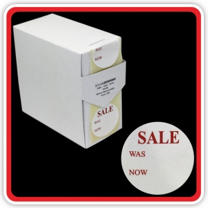 "S/A Removable Label ""SALE - WAS - NOW"" 40mm (1 1/2"") White - Pack 500"