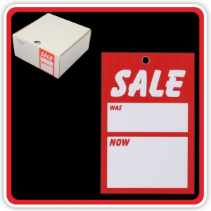 "UnStrung Sale Ticket ""SALE - WAS - NOW"" 75x50mm  - Bulk Box 1000"