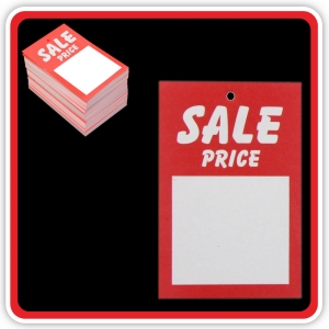 "UnStrung Sale Ticket ""SALE PRICE"" 75x50mm  - Pack 100"