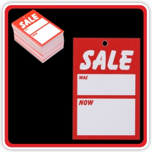 "UnStrung Sale Ticket ""SALE - WAS - NOW"" 75x50mm  - Pack 100"