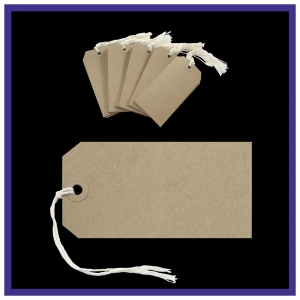 QualiTags Strung Tags Size 4 108mm x 54mm BUFF Recycled - Pack 50