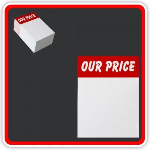 "Sale Cards 'OUR PRICE' 75 x 50mm (3""x2"") - Pack 96"