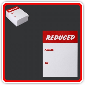 "Sale Cards 'REDUCED - FROM - TO ' 75 x 50mm (3""x2"") - Pack 96"