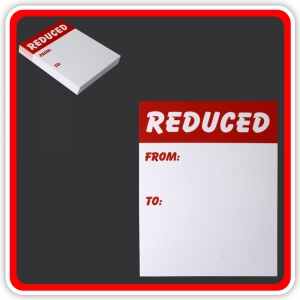 "Sale Cards 'REDUCED - FROM - TO' 100 x 75mm (4""x3"") - Pack 48"