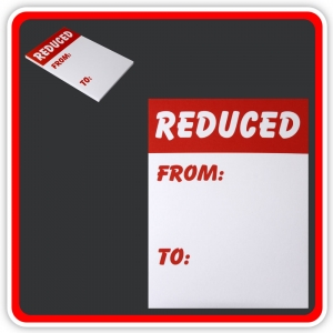 "Sale Cards 'REDUCED - FROM - TO' 150 x 100mm (6""x4"") - Pack 24"